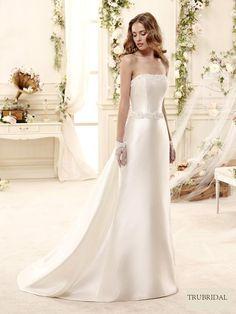 2015 A-Line Strapless Court Train Satin Ivory Wedding Dresses