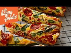 Asparagus and Tomato Frittata Slice - The Happy Foodie