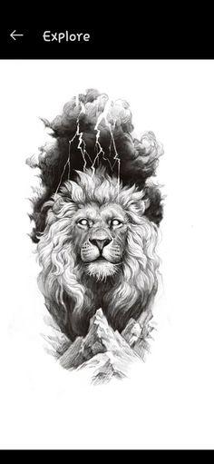 Dragon Head Tattoo, Lion Head Tattoos, Cool Tattoos, Lion Tattoo Design, Tattoo Designs, Realistic Dragon, Gray Tattoo, Mythology Tattoos, Shape Tattoo