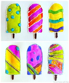 Popsicle Resist Art with Free Popsicle Template from Fun at Home with Kids