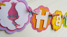 Trolls Happy Birthday OR Name banner Trolls Party by SweetBugABoo