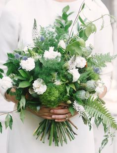 fern bouquet with thistles