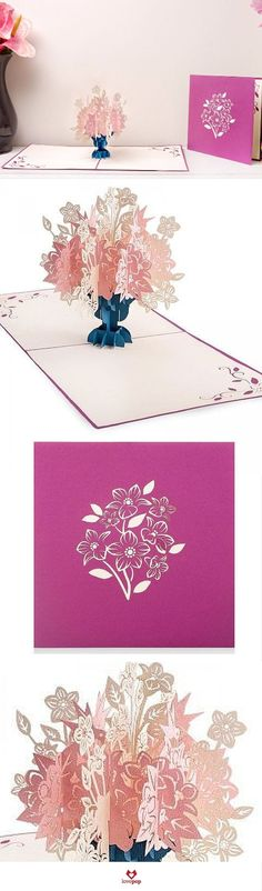 Dreaming of springtime? Share the flowers with a friend with this paper art 3d pop up card full of flowers. #blooms: