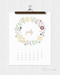 July downloadable calendar. #july #2015