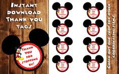 Mickey Mouse Thank you Tags