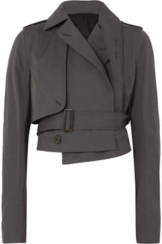 -- Rick Owens - Cropped Cotton-blend Poplin Jacket - Navy -- only always Givenchy Top, Fashion Details, Fashion Design, Style Fashion, High Fashion, Womens Fashion, Fall Fashion, High Collar, Rick Owens