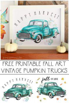 Free Printable Vintage Truck Heritage Pumpkin Farm Prints | The Happy Housie