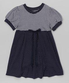 Another great find on #zulily! Navy Stripe & Dot A-Line Dress - Kids & Kids #zulilyfinds