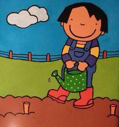 Anna en haar moestuintje p12 Anna, Fabric Toys, Activities, School, Kids, Fictional Characters, Gardens, Patterns, Preschool