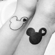 best friend Yin and Yang Disney tattoos. It was done at Blue Moon Tattoo and Piercings in Tracy, CA >>>> Sam we should get this! Cause Disney! Matching Disney Tattoos, Disney Couple Tattoos, Cute Disney Tattoos, Matching Best Friend Tattoos, Cute Couple Tattoos, Bff Tattoos, Future Tattoos, Body Art Tattoos, Cool Tattoos