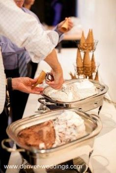 wedding ice cream dessert bar! since it will be in June, this will be a hit!
