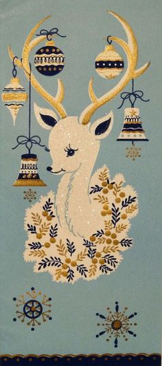 50s Glittered Mid Century White Deer-Vintage Christmas Card-Greeting