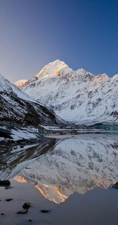 Mount Cook- Aoraki, reflected in Hooker Lake, South Island, New Zealand. The only place I've ever been snowboarding! Nz South Island, New Zealand South Island, Mount Cook New Zealand, New Zealand Adventure, New Zealand Travel, Adventure Island, Landscape Photography, Nature Photography, Travel Photography