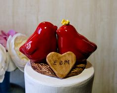 Red Love Bird Wedding Cake Topper by danceswithclay on Etsy