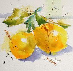 Meyer lemon, fruit, yellow, watercolor, painting, fine art, Lisa Livoni, Napa Valley artist, colorist
