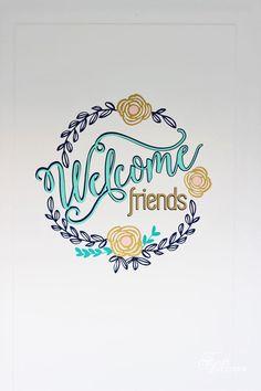 Welcome Friends Vinyl Door Decal- Free Silhouette Cut File