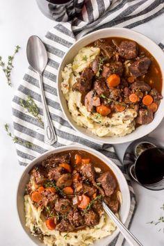 Instant Pot Beef Bourguignon recipe from RecipeGirl.com #instant #pot #instantpot #pressure #cooker #pressurecooker #beef #bourguignon #beefbourguignon #french #easy #recipe #RecipeGirl Chicken Gumbo, Chicken Gnocchi Soup, Instant Pot Beef Bourguignon Recipe, Classic French Dishes, Using A Pressure Cooker, Beef Recipes, Ninja Recipes, Cooker Recipes, Yummy Recipes