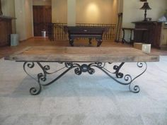 Custom hand forged wrought iron table base available in custom sizes, designs and finishes.