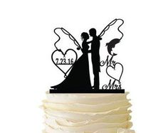 Mr. and Mrs. with Bride and Groom and Fishing Poles - Standard Acrylic - Wedding - Anniversary - Fishing Cake Topper - 102