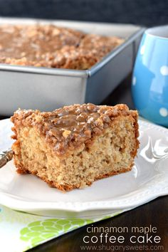 This sweet Cinnamon Maple Coffee Cake recipe is the perfect breakfast solution! With a slightly chewy texture like a cinnamon roll, it's the maple glaze and streusel topping that wins you over! #sponsored #fleischmannsyeast