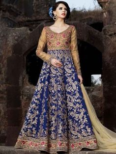 <p>Peach Yellow And Dark Blue Brocade And Silk Party Embroidered Lawn Kameez</p>