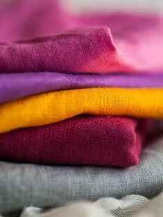 Beautiful colour inspiration Hot pink hand dyed linen by the half yard by laundrymonster