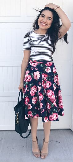 I like the stripes / floral! FLORAL MIDI SKIRT - $25 thedarlingstyle.com