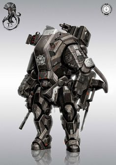 Check ships and tanks. Keywords: digital concept robot android droid art by theo stylianides walking gu. Robot Concept Art, Armor Concept, Robot Art, Robot Picture, Arte Ninja, 3d Mode, Image Digital, Digital Art, Starship Troopers