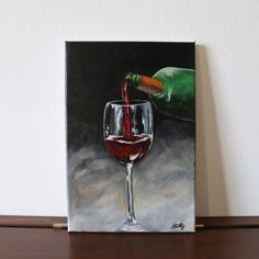 Redwine 20x30cm ©Billy Acrylic Painting Canvas, Red Wine, Original Artwork, Craft Supplies, Alcoholic Drinks, Etsy, Vintage, The Originals, Unique Jewelry