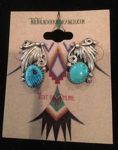Beautiful Vintage  Sterling Turquoise Navajo Earrings by TheThunderBirdRanch on Etsy