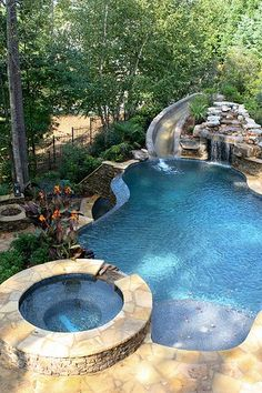 Natural Swimming Pools, Swimming Pools Backyard, Pool House Plans, Zen Garden Design, Pool Water Features, Outdoor Fireplace Designs, Pool Remodel, Jacuzzi Outdoor, Summer Porch