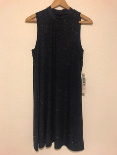 afd2703b37d39 NWT Tiana B. Women s Navy Blue Silver Glitter Knit Mock Neck Swing Dress  Size