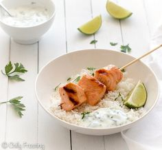 Grilled Salmon Skewers with Honey and Lime