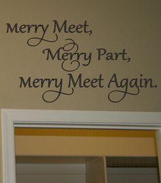 Merry Meet Merry Part Merry Meet Again vinyl wall decal, Wiccan removable home decor wall vinyl sticker, DIY home sticker gift ideas