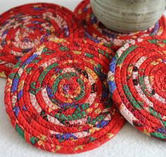 Red Coiled Fabric Coasters / set of 4 / by by PrairieThreads, $16.00