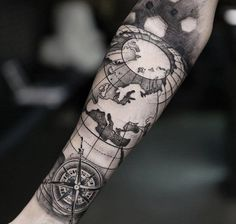 Compass and map forearm - 100 Awesome Compass Tattoo Designs