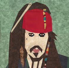 Jack Sparrow, paper pieced and embroidered, free pattern at Fandom In Stitches. Designed by Flynn Flynn Thompson! Paper Pieced Quilt Patterns, Quilt Block Patterns, Pattern Blocks, Quilt Blocks, Crafts With Pictures, Fabric Pictures, Scrappy Quilts, Mini Quilts, Pirate Quilt