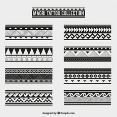 Maori tribal tattoo collection Free Vector<br> Discover thousands of free-copyright vectors on Freepik Wrist Band Tattoo, Hawaiianisches Tattoo, Body Art Tattoos, Hand Tattoos, Sleeve Tattoos, Turtle Tattoos, Thai Tattoo, Tattoos Skull, Lion Tattoo