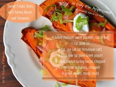 Healthy Sweet Potato Skins with turkey bacon & tomatoes!  21 Day Fix Approved!  #healthyappetizers #21dayfix