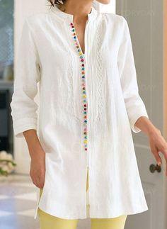 FloryDay / Color Block Casual V-hals ærmer Skjorter Linen Shirt Dress, Fashion Seasons, Quarter Sleeve, Blouses For Women, Tunic Tops, Clothes, Women's Fashion, Fashion Basics, Fashion Blouses