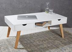 Couchtisch 110 x 60 x 45 cm weiß mit Massivholzbeinen im skandinavischen Retro-Design - Beistelltisch Tisch Wohnzimmertisch Stubentisch