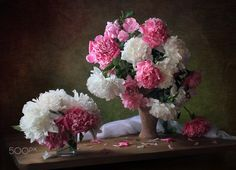 With bouquets of peonies - null