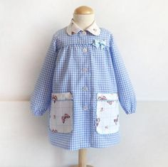 School smock for girl - white kindergarten smock - preschool dress - school clothes - cotton smock Toddler Apron, Art Smock, Pdf Sewing Patterns, Pattern Art, Polka Dot Top, Smocking, Preppy, Diy, Tops