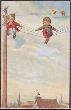 Old postcard , children on the wires - one of the cutest cards ever :o)