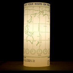 Better than a globe, here is the Plot Your Route Map Lamp. By Two Layers Of Cells