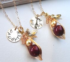 Personalized Mother And Daughter Necklace Set by ThePeasInAPodShop, $60.00