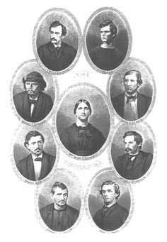 (Clockwise from top left) Payne, Herold, O'Laughlin, Surratt, Spangler, Arnold, Atzerodt, and Booth.  Mary Surratt was purposefully put in the center to portray the idea that she was at the center of the Lincoln assassination conspiracy.  I hate this placement.