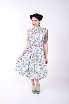 1950s Vintage Dress Novelty Print Clover Cotton by stutterinmama, $98.00