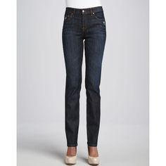 Vizcaino Women's Santa Monica Straight-Leg Jeans - Santa Monica (4) found on Polyvore featuring polyvore, women's fashion, clothing, jeans, dark wash jeans, high rise straight leg jeans, slim straight jeans, slim fit straight leg jeans and bleached jeans