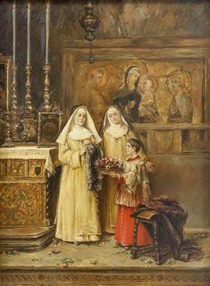 """ESCUELA ESPAÑOLA   (Pp. S. XX)  """"Monjas y monaguillo en el altar"""""""